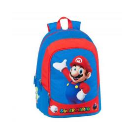 Super Mario Bros Zaino Scuola Organizzato Blu e Rosso America 3 Zip Zaino 2022 32x43x23 cm