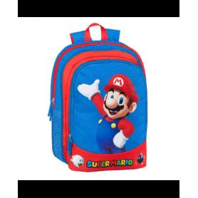 Super Mario Bros Zaino Asilo Organizzato Blu e Rosso America 2 Zip Zaino 2022 30x22x10 cm
