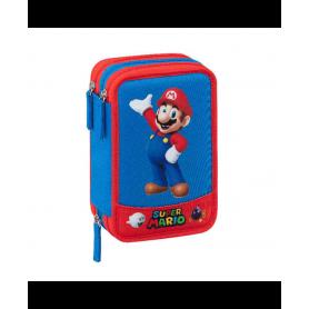 Super Mario Astuccio Organizzato Tre Zip Super Mario - 20x13x7 Cm Astuccio +18 Pennarelli + 18 Pastelli Colorati + Forbici Col