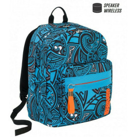 Zaino Seven - Sdoppiabile New Rawiri Azzurro E Arancio Con Speaker Wireless